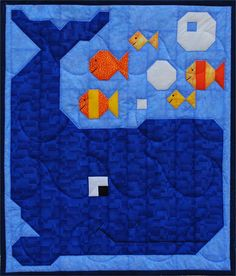"Whale Quilt Pattern  Finished Sizes   Wall Hanging:  24"" x 28""   Crib:  36"" x 42""   Lap:  48"" x 56"""