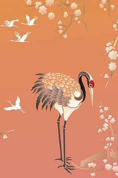 bird crane in flight painting - Google Search