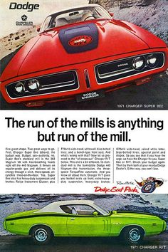 1971 Dodge Charger RT and Super Bee advertisement.