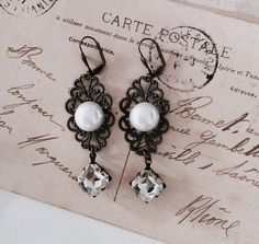 White Pearl Earrings Rhinestone Earrings Brass Filigree Victorian French Bridal Jewelry Wedding Bride Bridesmaids Romantic Elegant JW PM
