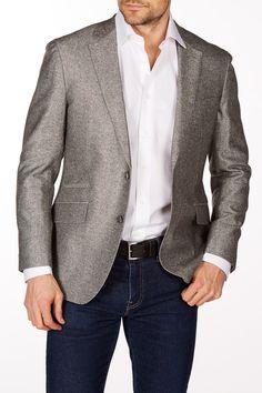 Gray Woven Two Button Notch Lapel Wool Slim Fit Blazer