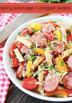 Spicy Sausage and Pepper Pasta-this colorful pasta dish is easy to make and full of flavor!