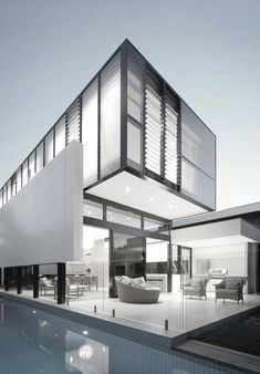 #Beautiful #modern #home in #white and #gray - great architecture