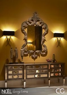 Surround yourself with Beauty.like this mirrored cabinet from CG! A neo-classic cabinet with mirrored chest comprising of three centrally positioned drawers enhanced by faux-drawer side doors, also available in a side table version. Classic Cabinets, Wall Lights, Ceiling Lights, Sideboard Cabinet, Side Door, Through The Looking Glass, Luxury Living, Sconces, New Homes