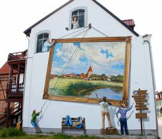 trompe l'oeil painting of a painting being lifted