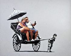 Image: Rickshaw by Banksy is an example of how the artist explores street art and graffiti art to make statements about capitalism and important social issues. Banksy Art