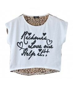 Leopard and Letters Print Crop Top