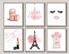 Paris Wall Art Paris Bedroom Decor Paris Bedroom Art Girl Room Decor Eiffel Tower Heart, Isn't She Lovely, Crown Name Set of 4 Paris Prints - - Paris Room Decor, Paris Rooms, Paris Wall Art, Pink Wall Art, Wall Art Sets, Fashion Wall Art, Fashion Decor, Fashion Bedroom, Fashion Prints