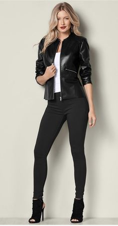Classy Leather Jacket Outfits Ideas For Women 39 Jean Jacket Outfits, Leather Jacket Outfits, Black Faux Leather Jacket, Faux Leather Jackets, Black Jacket Outfit, Leather Jacket Styles, Leather Jacket For Girls, Collarless Leather Jacket, Black Women Fashion