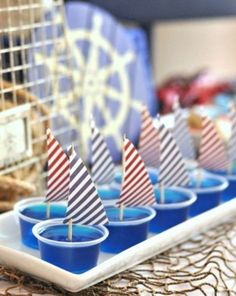 Jello Shots for my nautical bachelorette party theme :) Shower Bebe, Baby Boy Shower, Baby Showers Marinero, Sailing Party, Yacht Party, Sailor Baby Showers, Sailor Theme Baby Shower, Baby Shower Nautical, Lobster Party