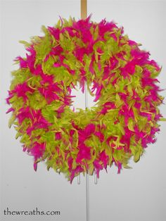 Pink and Lime Green Feather Wreath by thewreaths.com