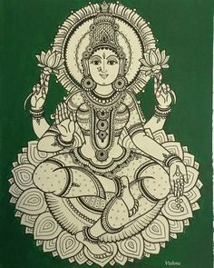 Lakshmi, along with Parvati and Saraswati, is a subject of extensive Subhashita, genomic and didactic literature of India. Indian Traditional Paintings, Indian Art Paintings, Tattoo Traditional, Kalamkari Painting, Madhubani Painting, Phad Painting, Kerala Mural Painting, Mysore Painting, Madhubani Art