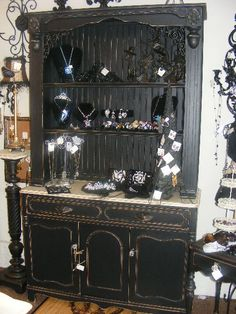 Beautiful French Country Black Hutch