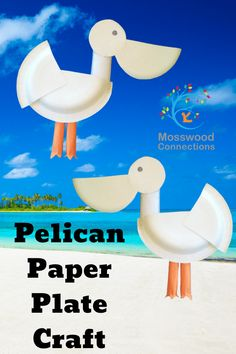 Pelican Paper Plate Craft Paper Plate Crafts For Kids, Animal Crafts For Kids, Easy Arts And Crafts, Easy Crafts For Kids, Projects For Kids, Kid Crafts, Art Projects, Simple Crafts, Toddler Crafts
