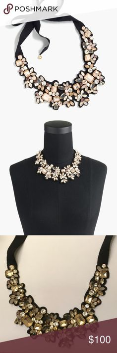 """NWOT J.Crew Frost Crystal Bib Necklace The perfect accessory, a sparkling mix of rhinestones (with fabric backing) makes up this lovely statement necklace with grosgrain ribbon ties. 10"""" embellished panel; 13"""" ribbon ties; 36"""" total length. Glass/epoxy/brass/light-goldtone plate/textile. Comes in J.Crew jewelry pouch. Note: colors better reflected in stock photos. J. Crew Jewelry Necklaces"""