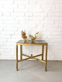 Vintage Beistelltische Messing Mid Century Tisch kleiner
