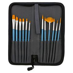 Blue Wartoon 12pcs Assorted Sizes Nylon Artists Specialist Crafts Flat Paint Brushes for Art Acrylic Oil Painting Modeling Art Paint Brushes Set