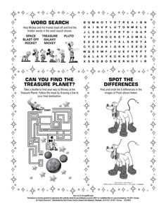 Free Mickey Mouse activity sheets