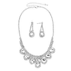 Affordable Bride Wedding Jewelry Clear Rhinestone Chandelier Earrings Silver Necklace Set Ice, Affordable wedding jewelry http://www.amazon.com/dp/B019J778Q8/ref=cm_sw_r_pi_dp_EShDwb06ZQWK0