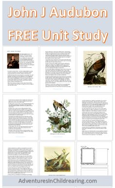 John J Audubon FREE unit study for your homeschool with exclusive discount coupon for curriculum bundle! Science Curriculum, Homeschool Curriculum, Nature Study, Lessons For Kids, Science And Nature, Lesson Plans, The Unit, Charlotte Mason, Unit Studies