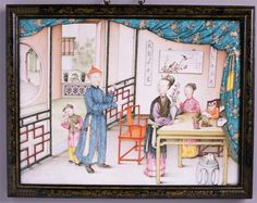 An 18th-century illustration shows an idealised domestic scene in a wealthy family. The woman is arranging flowers for the home.