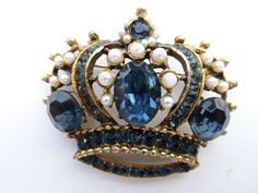 Crown Brooch gold tone faux pearls and royal blue rhinestones X93