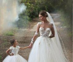 Wedding Dress, White Wedding Dress, Long Sleeve Wedding Dress, Tulle Wedding Dress, Princess Wedding Dress, Floor Length Wedding Dress, Ball Gown Flowers Bridal Gowns