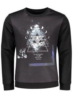 Crew Neck Space Print Sweatshirt - Black 2xl