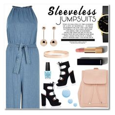 """""""Denim Jumpsuit"""" by alissfashionicon ❤ liked on Polyvore featuring River Island, J.W. Anderson, Chanel, New Look, Lana Jewelry, Topshop, OPI and sleevelessjumpsuits"""