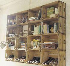 Les caisses en bois sont multifonctionnelles et ne coûtent pas cher! Voici 8 belles idées à base de caisses en bois! J'aimerais bien avoir le n°6! - DIY Idees Creatives