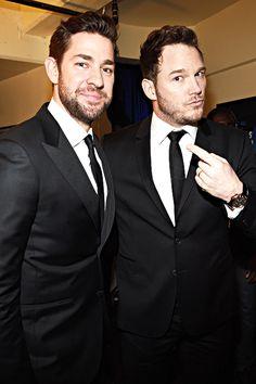 """  John Krasinski and Chris Pratt attend the 20th annual Critics' Choice Movie Awards at the Hollywood Palladium on January 15, 2015 in Los Angeles, California. """