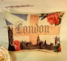 Handmade Union Jack London Pillow European by LisasShabbyCottage