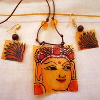 These would be fun to make in Lucky Squirrel shrink plastic. Kerala Mural Pendant and Earrings.