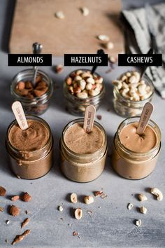 How to Make Nut Butter - Delicious and Healthy by Maya Although vegan diet is Hazelnut Recipes, Hazelnut Butter, Raw Food Recipes, Raw Cashew Butter Recipe, Healthy Nutella Recipes, Homemade Nut Butter Recipes, Best Almond Butter, Cashew Recipes, Homemade Almond Butter