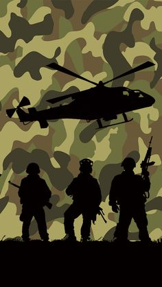 War Hero Military camouflage wallpaper with helicopter and soldier silhouette art. Camouflage Wallpaper, Camo Wallpaper, Wallpaper Backgrounds, Wallpaper Desktop, Disney Wallpaper, Wallpaper Quotes, Soldier Silhouette, Tree Silhouette, Military Camouflage