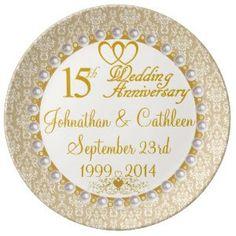 "Personalized 15th Anniversary Porcelain Plate (<em data-recalc-dims=""1"">$54.95</em>)"