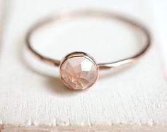 Rose quartz rose bague en or or 14k coupe rose par BelindaSaville