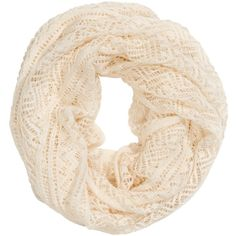 H&M Pattern-knit tube scarf ($6.29) ❤ liked on Polyvore featuring accessories, scarves, h&m, natural white, circle scarves, white infinity scarves, white circle scarf, loop scarf and tube scarves