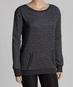 Loving this Black Metallic Sweatshirt - Plus on #zulily! #zulilyfinds