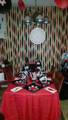 Harley Quinn birthday decorations. #HarleyQuinn #BirthdayDecor #redandblack