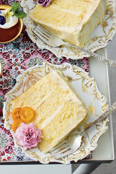 Serve this decadent spring dessert at your next ladies' luncheon and wow the crowd with edible flowers.    Recipe:Lemon-Orange Chiffon Cake