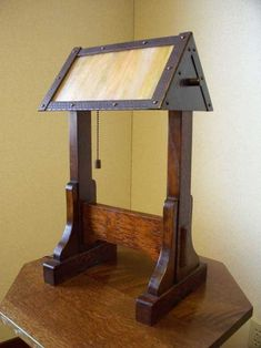 arts and crafts stickley reproduction style table lamp of stained quartersawn oak with hand crafted art glass with adjustable hand hammered copper shade Craftsman Lamps, Craftsman Lighting, Craftsman Furniture, Craftsman Style, Mission Style Furniture, Arts And Crafts Furniture, Art Deco Lamps, Indoor Outdoor Furniture, Japanese Woodworking