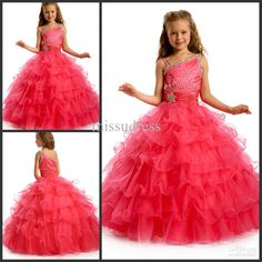 Wholesale Pageant Dresses For Little Girl One shoulder Beading Tulle Ball Gown Flower Girl Dress Custom Made, Free shipping, $100.8-112.0/Piece | DHgate