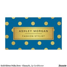 Gold Glitter Polka Dots - Classy Royal Blue Pack Of Standard Business Cards