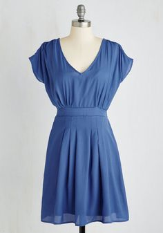 Write or Flight Reflex Dress - Mid-length, Woven, Blue, Solid, A-line, Short Sleeves, Good, Casual