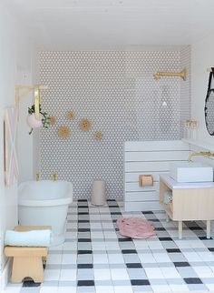 Nalle's House: Little Modern Farmhouse Bathroom and Workspace