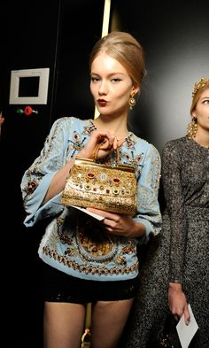 Backstage at the #dolcegabbana Winter 2014 Womenswear show