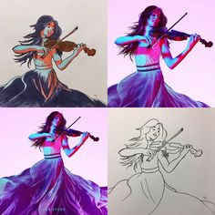 """Instagram: """"Lindsey Stirling Top left and bottom right repost from: @billgathen  Original artwork by:…"""""""