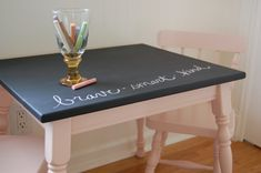 Refurbished children's table with chalkboard top
