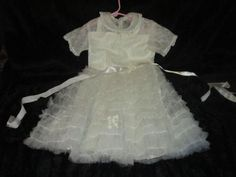 VINTAGE HAND SEWN 1ST COMMUNION DRESS- Lace  #Handmade